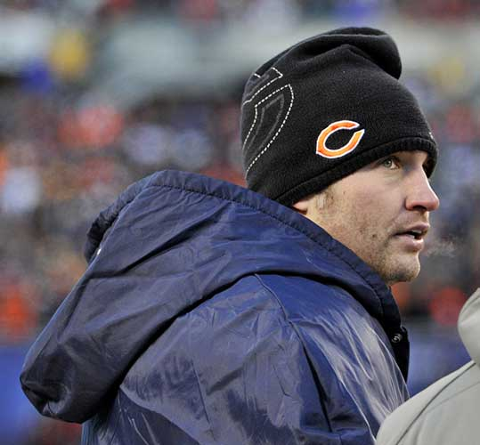 "<div class=""meta ""><span class=""caption-text "">Chicago Bears' Jay Cutler during the second half of the NFC Championship NFL football game Sunday, Jan. 23, 2011, in Chicago.  (AP Photo/Jim Prisching)</span></div>"